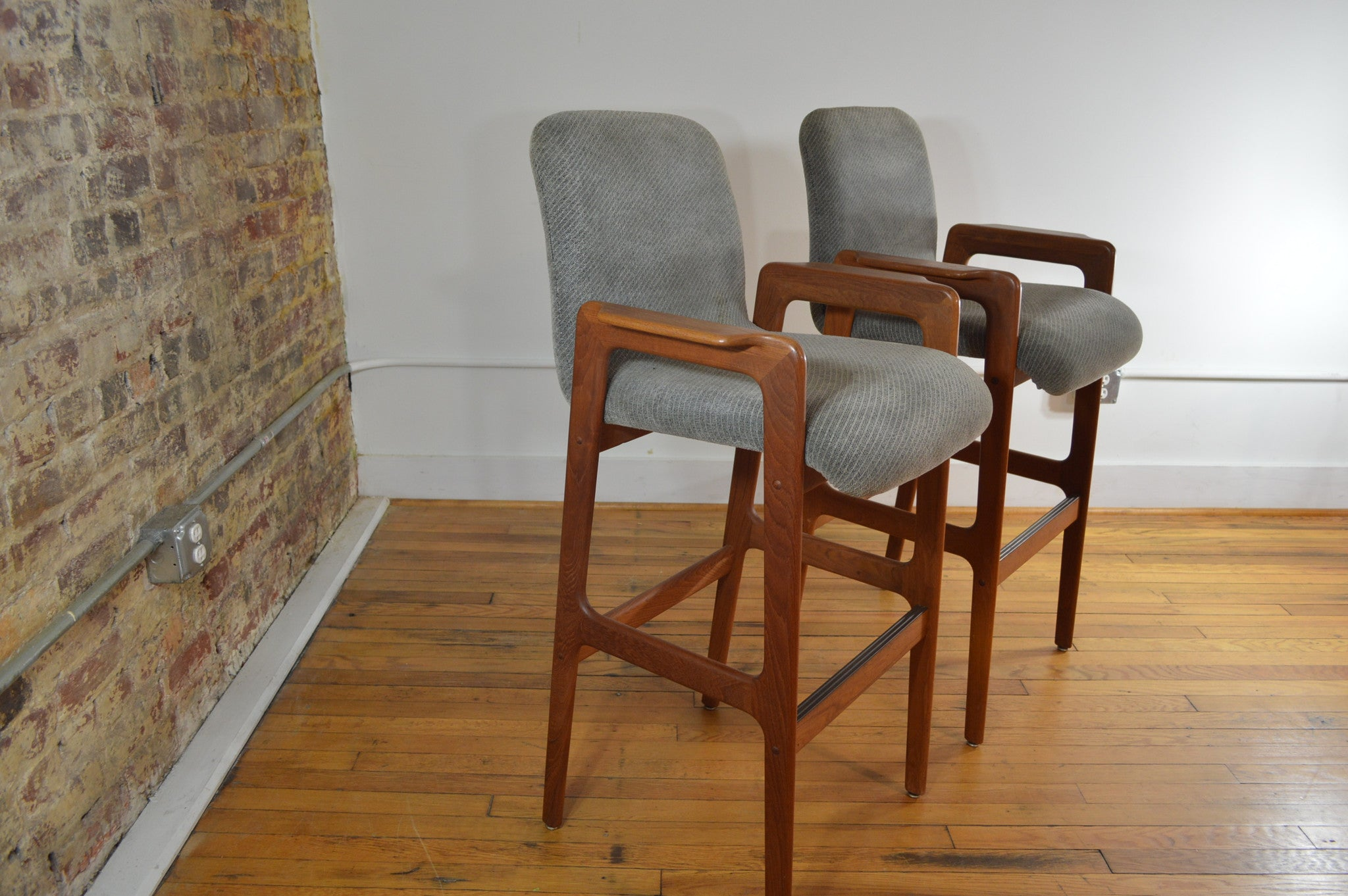 Picture of: Danish Teak Bar Stools Tall With Arms Set Of 2 Galaxiemodern