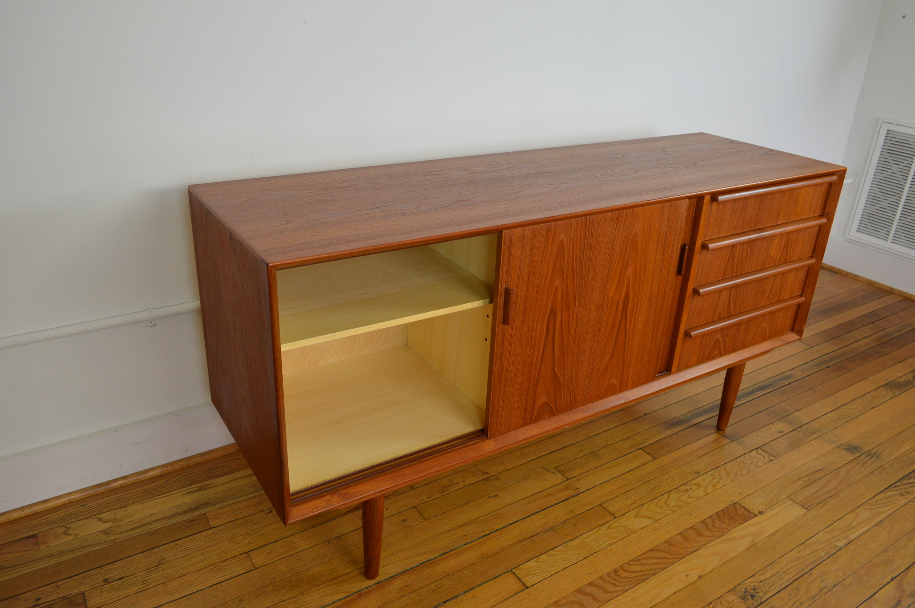 Danish Sideboard Credenza : Modern credenza along mid century entertainment buffet wood