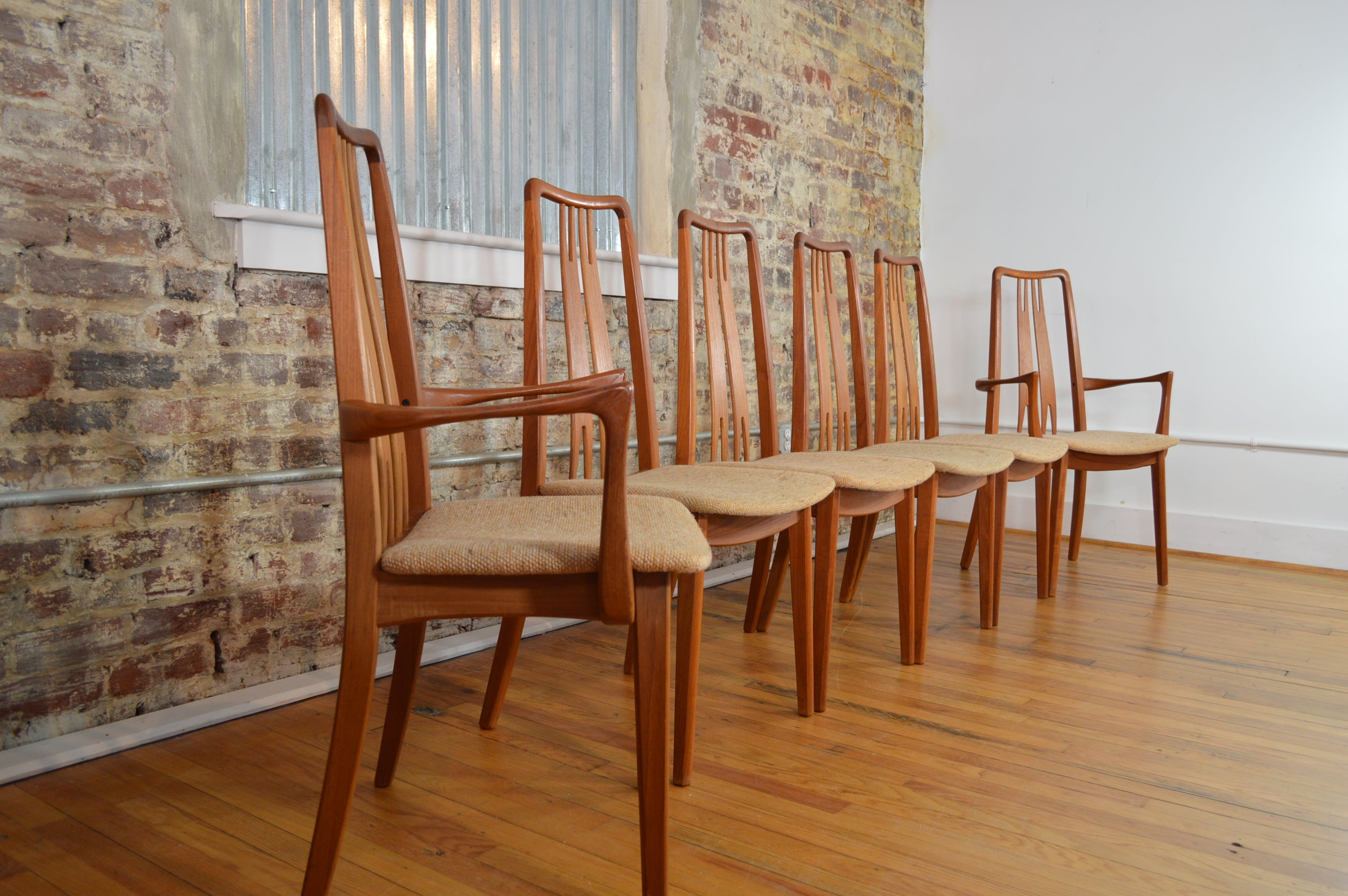 Set of Six High Back Anders Jensen Style Danish Teak Windsor