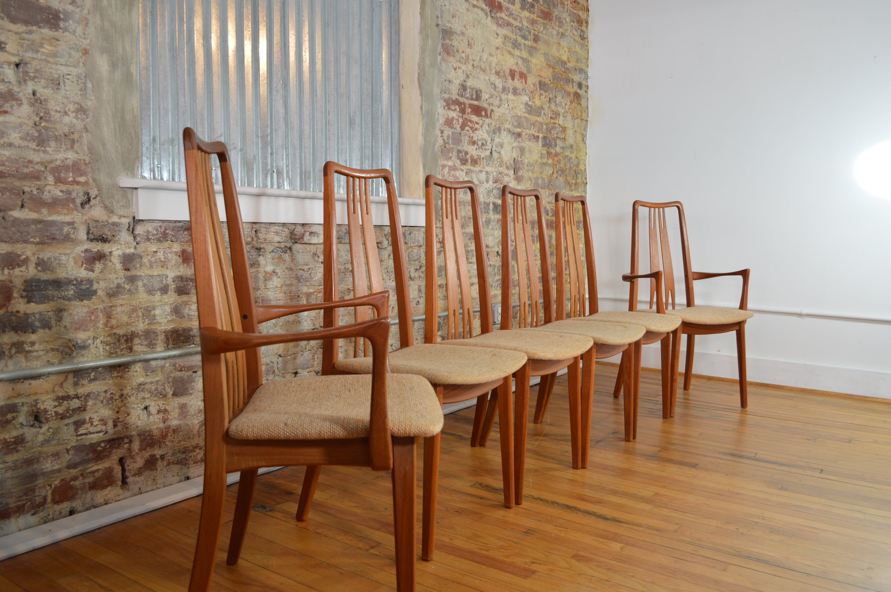 Set Of Six High Back Anders Jensen Style Danish Teak Windsor Dining Chairs