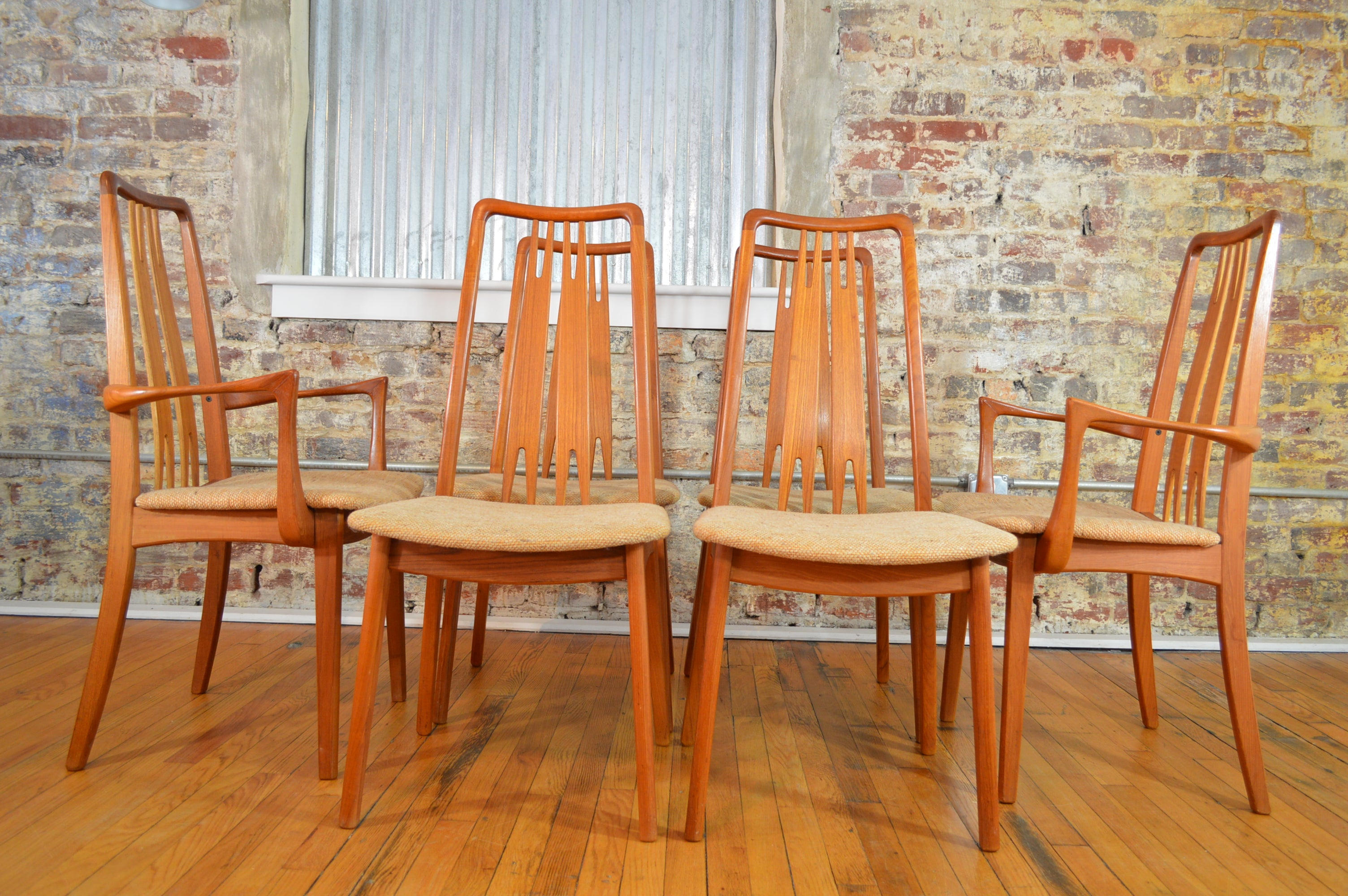 set of six high back anders jensen style danish teak windsor dining chairs. set of six high back anders jensen style danish teak windsor