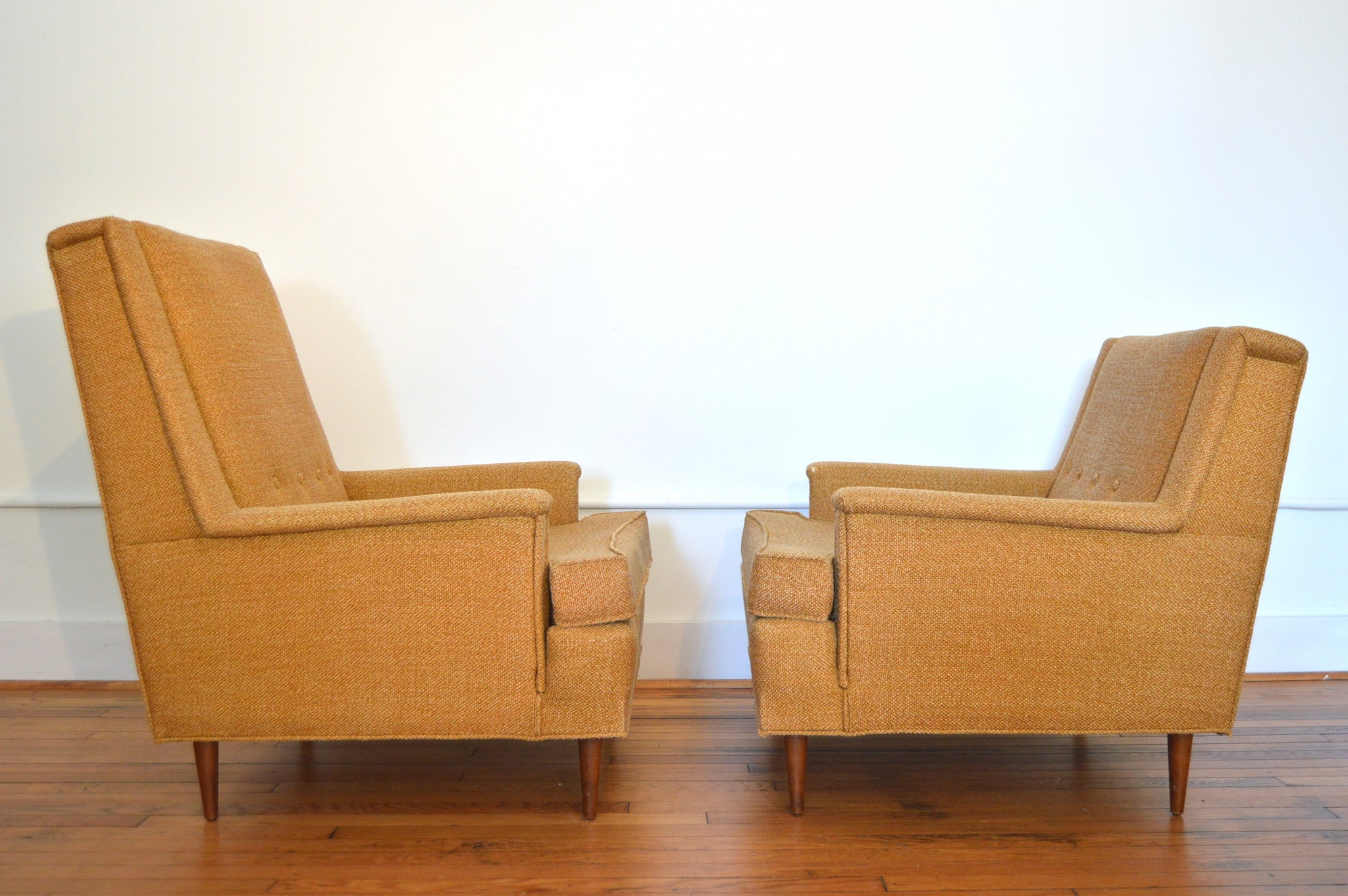 King and Queen Arm Chairs in the Style of Milo Baughman Danish