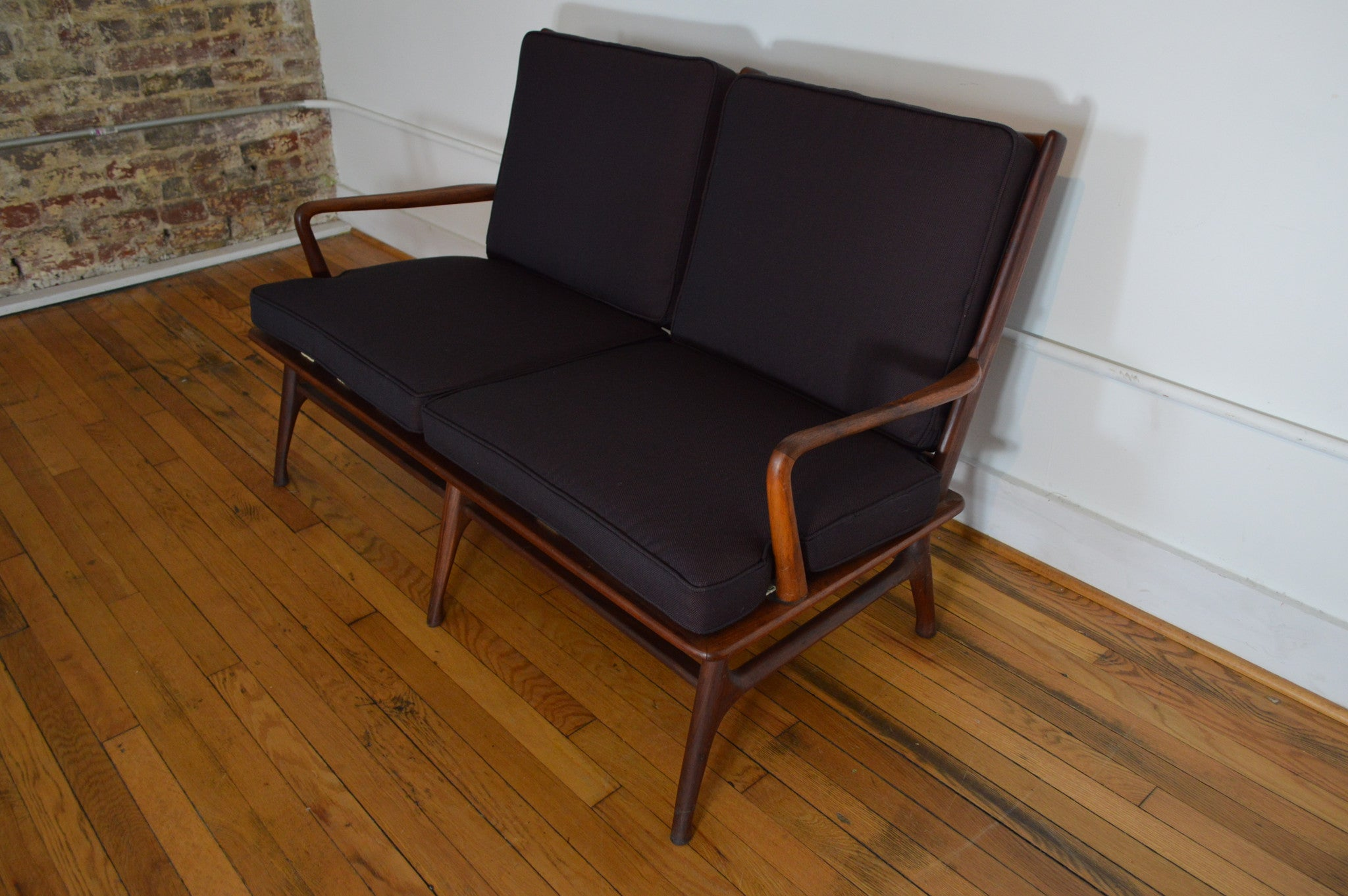 Danish walnut love seat with matching lounge chair for Matching lounge furniture
