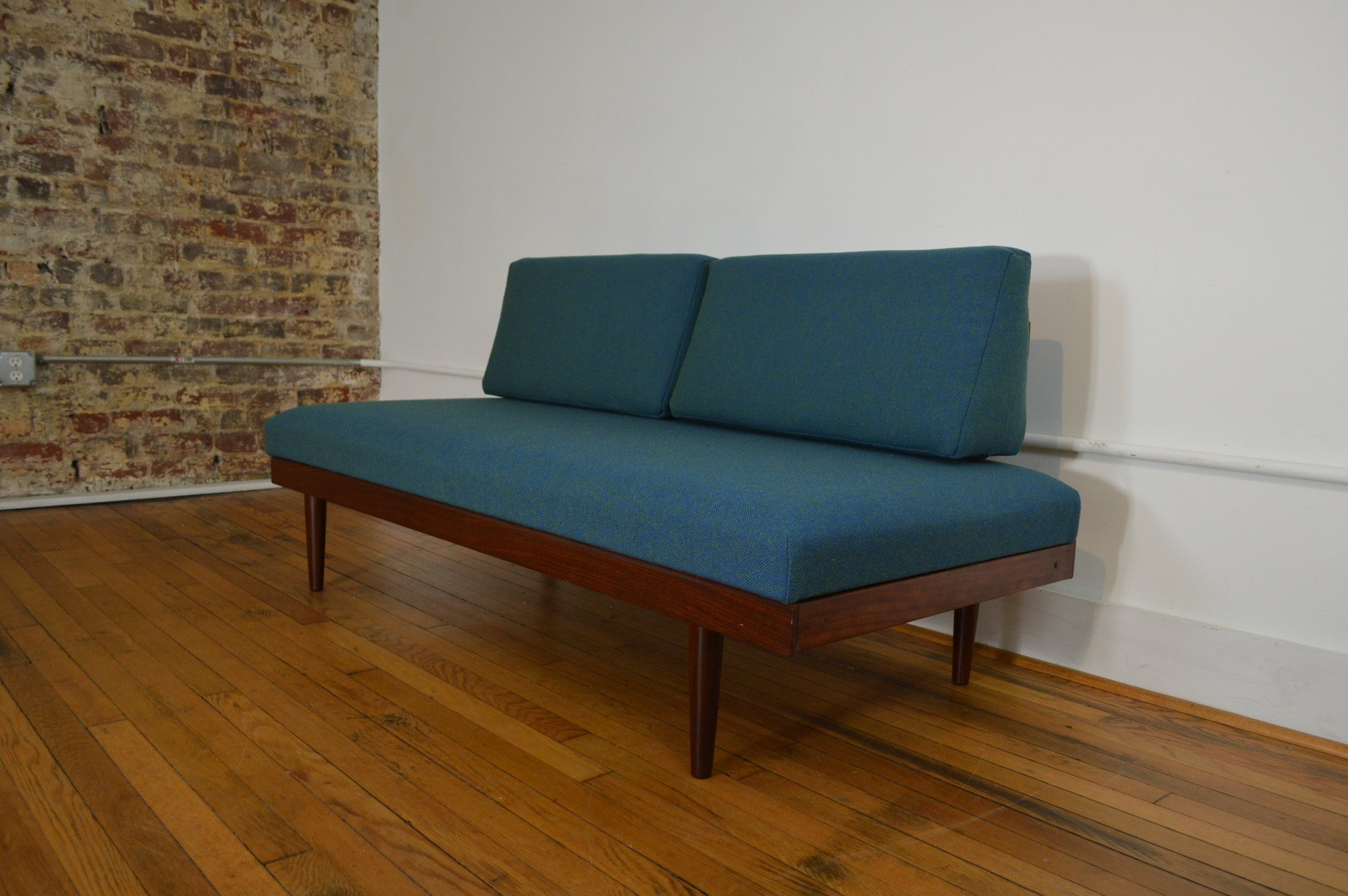 Scandinavian Daybed Sofa with Teak Pull Out End Tables