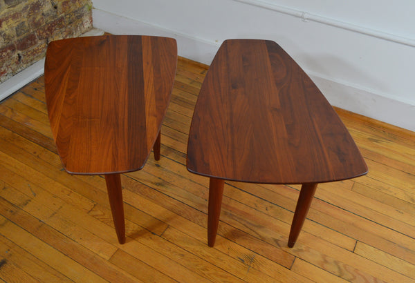 Prelude Ace Hi Solid Walnut Triangle Side Tables Pair