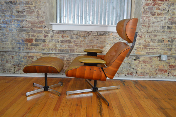 Plycraft Eames Style Walnut Lounge Chair And Ottoman