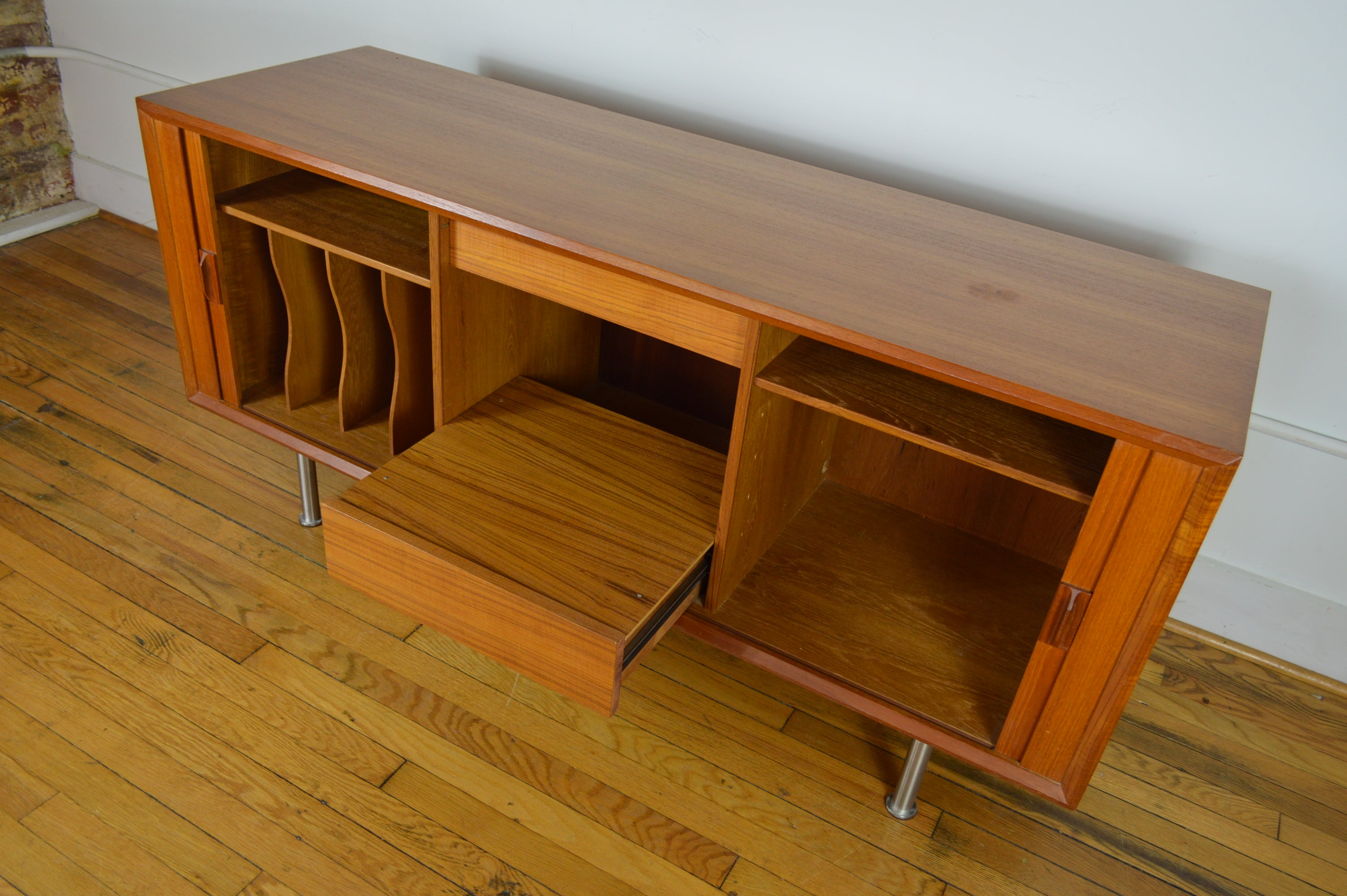 Faarup Danish Mid Century Modern Teak Stereo Console Compact Credenza
