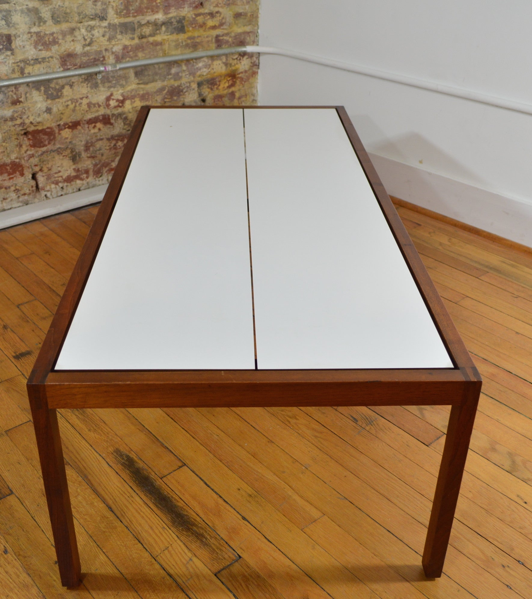 Knoll Walnut and Laminate Coffee Table White GalaxieModern