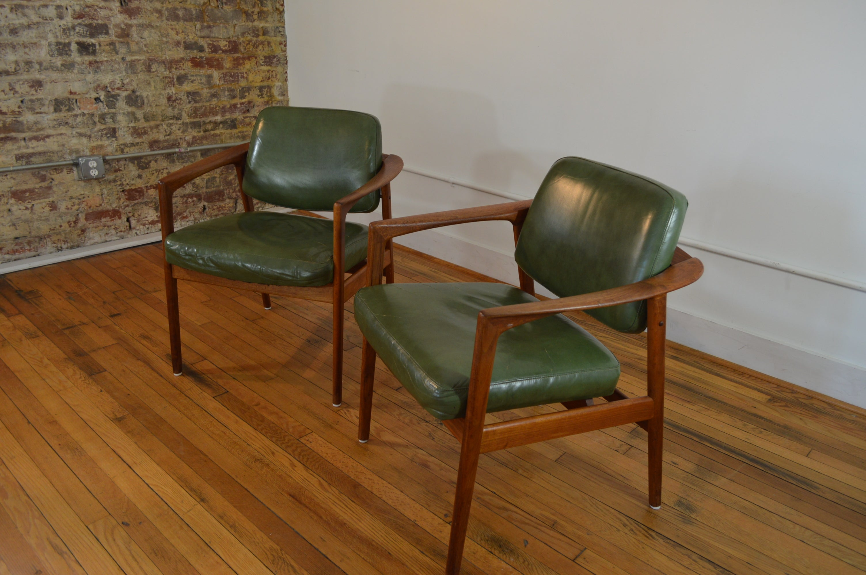 Folke Ohlsson For DUX Sweden Teak And Leather Arm Chairs