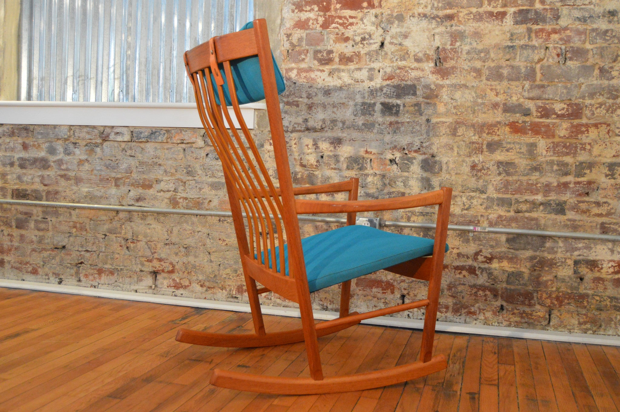 Hans Wegner Teak Rocking Chair in Maharam Fabric GalaxieModern