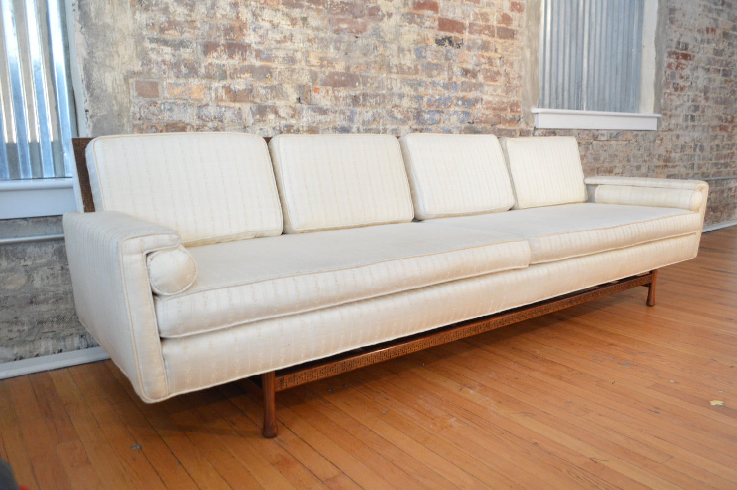 elegant mid century modern sofa with greek key design  danish  - elegant mid century modern sofa with greek key design  danish modern sofa
