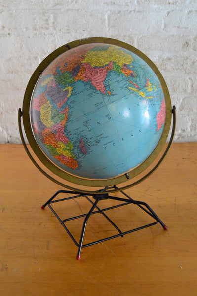 Vintage Replogle 12 Inch Reference Globe On Wire Stand