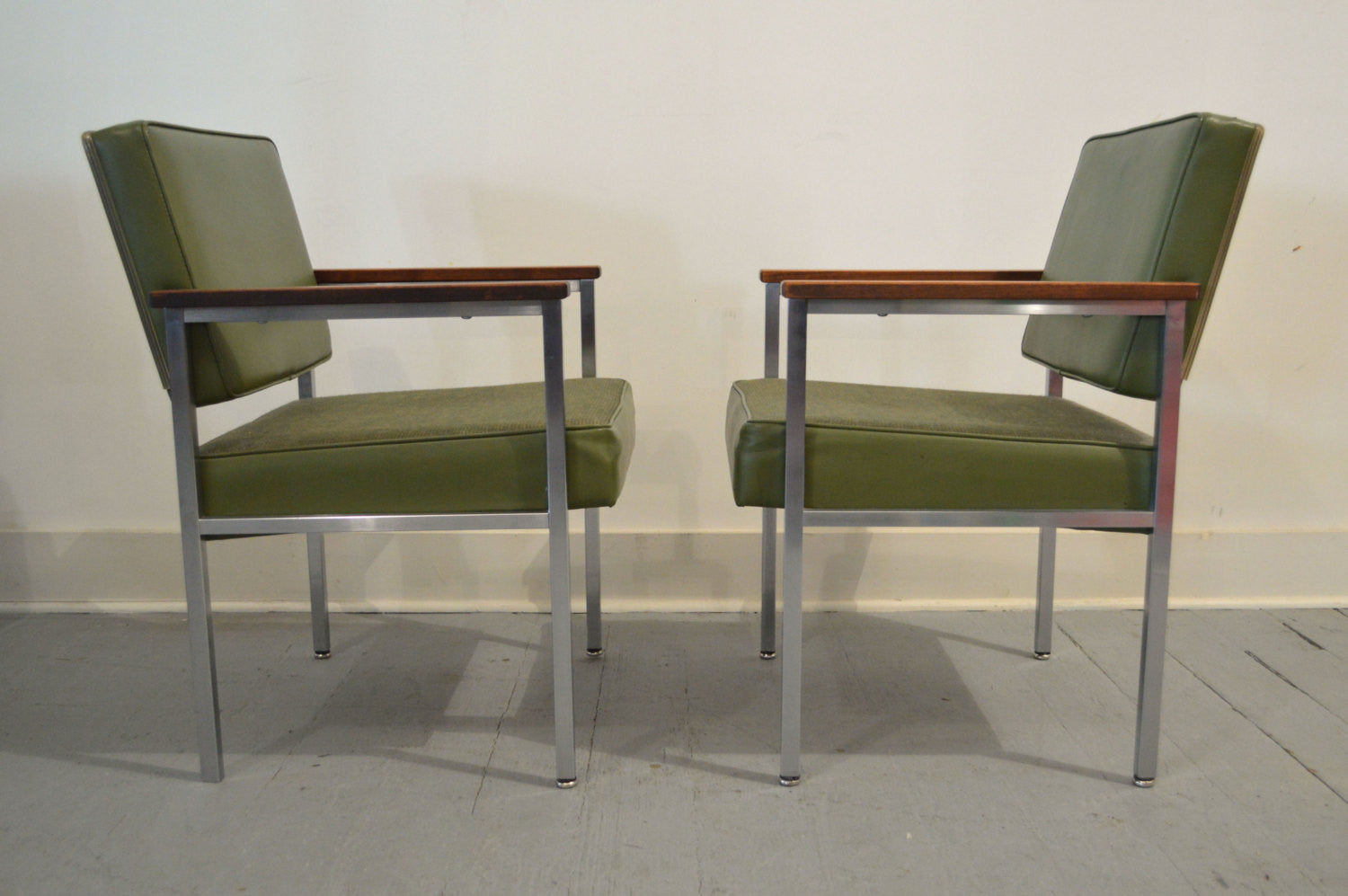 Set Of Two Vintage Mid Century Office Chairs In Green By All Steel