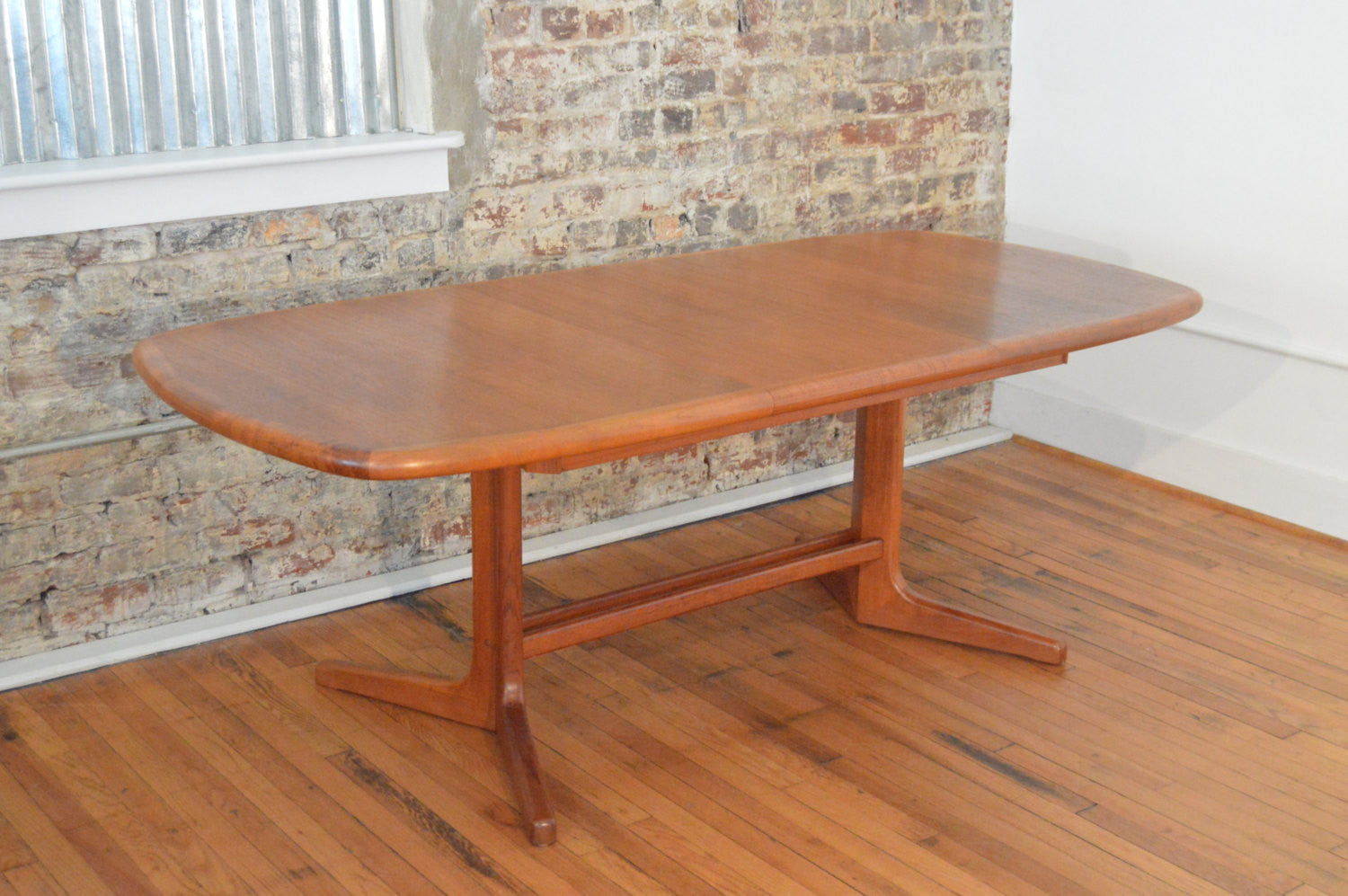 danish teak trestle base dining table with butterfly leaf - Scandinavian Teak Dining Room Furniture