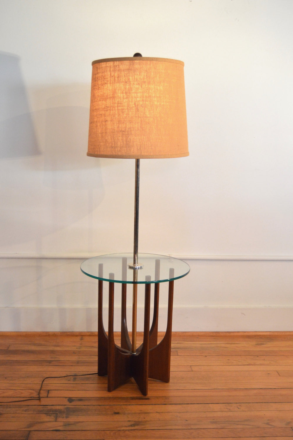 ^ drian Pearsall Style Brass and Walnut Floor Lamp / Side able ...