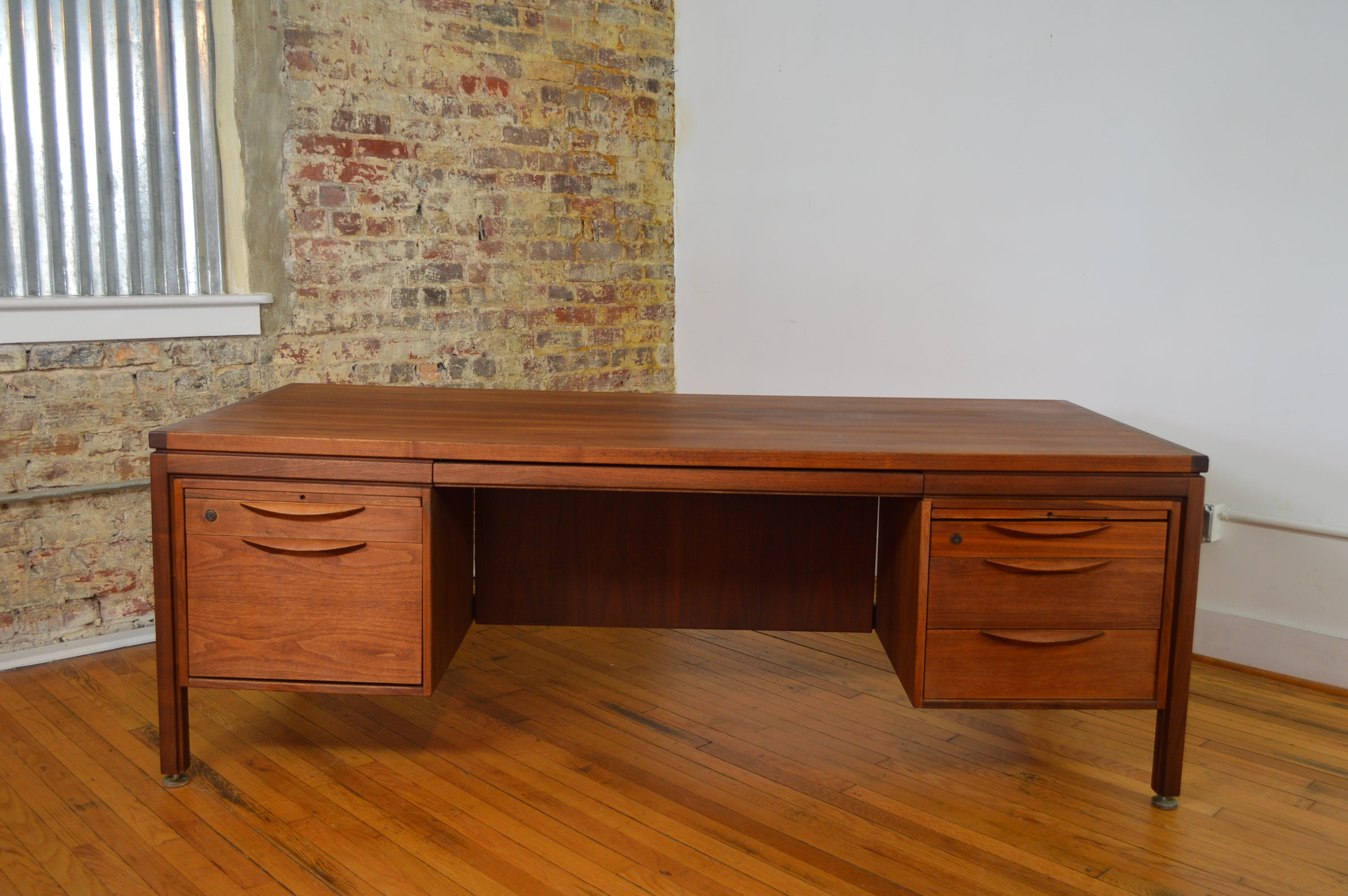 jens risom mid century danish modern walnut executive desk