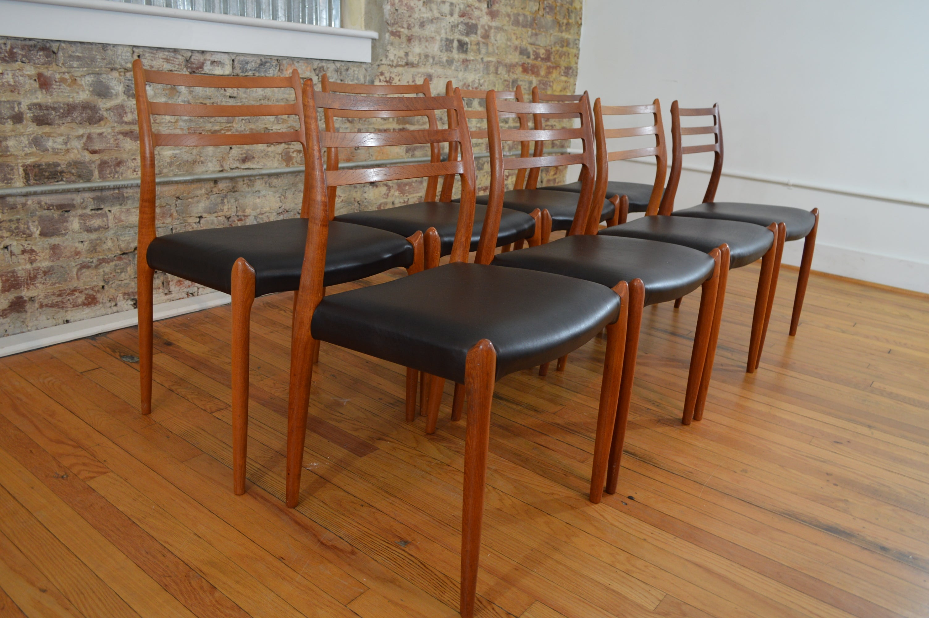 Set of eight j l mollers model 78 teak leather danish dining chairs