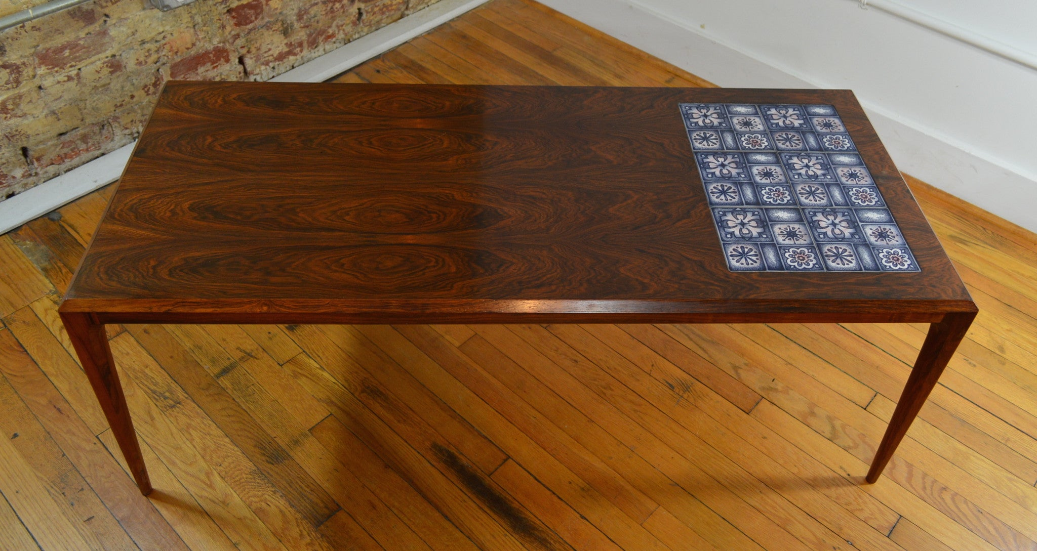 Rosewood and Tile Coffee Table by Johannes Andersen with Royal