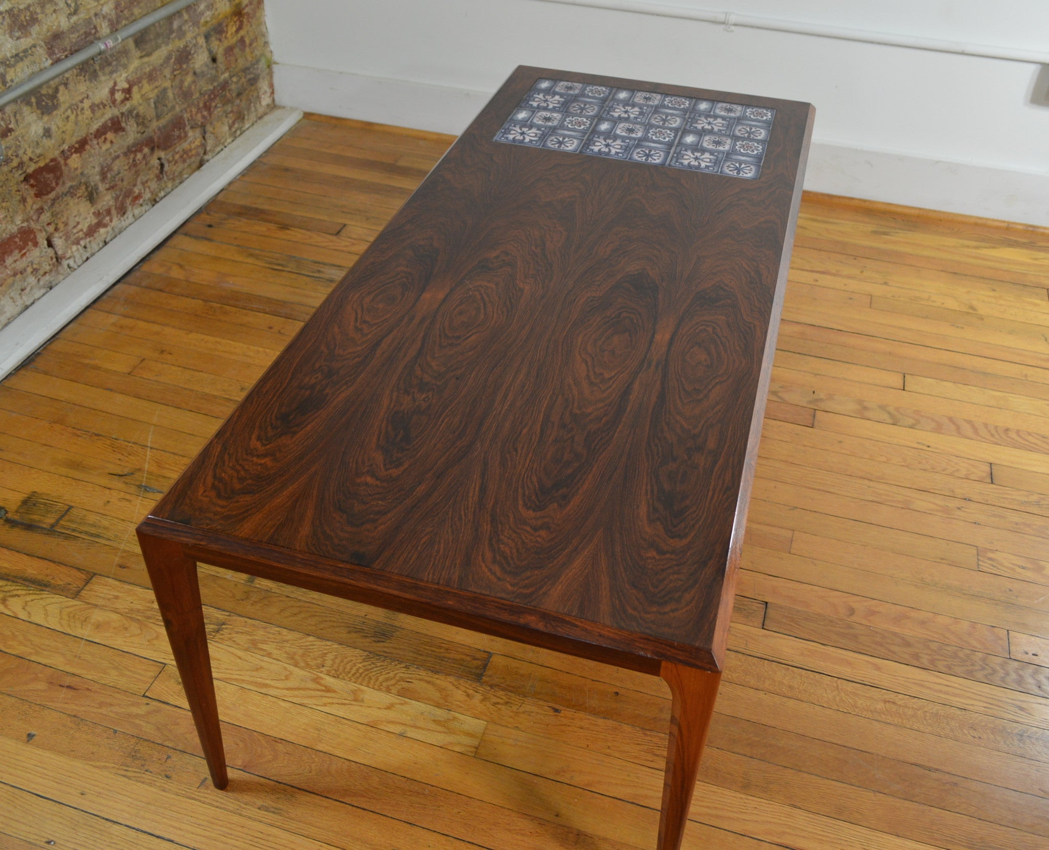 Rosewood And Tile Coffee Table By Johannes Andersen With Royal Copenhagen  Tiles