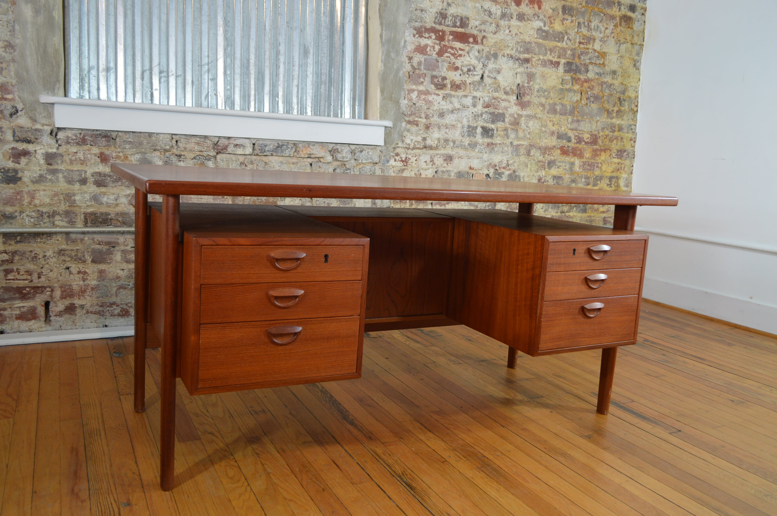 kai kristiansen danish teak desk with bookcases