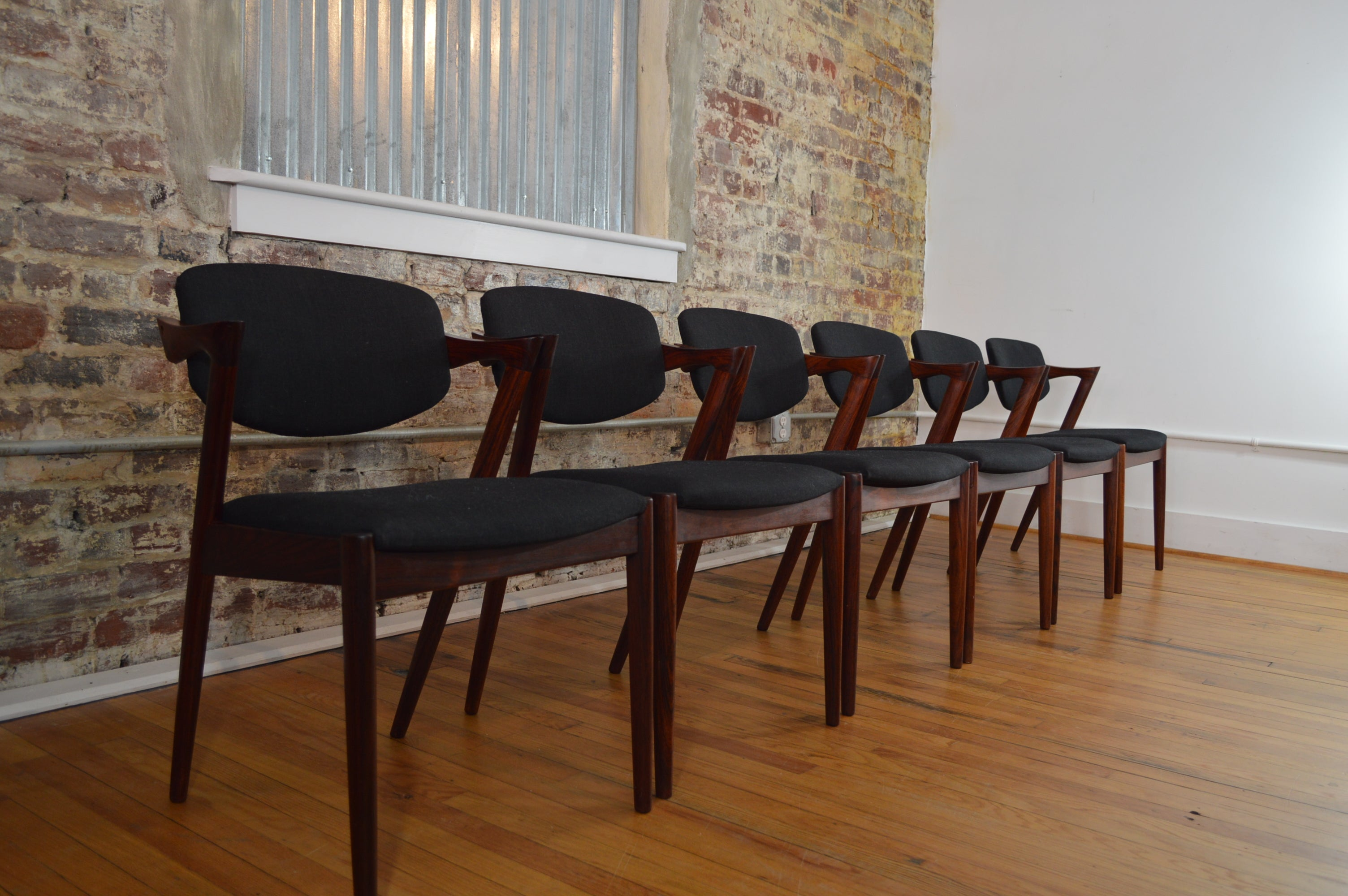 Set Of Six Kai Kristiansen For Schou Andersen Rosewood Model 42 Chairs
