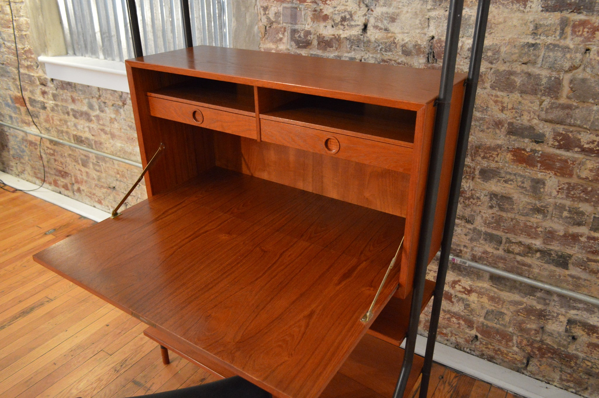 denmark teak drop desk secretary dropfront mid century office midcentury furniture danish eames writing front galaxiemodern scandinavian products