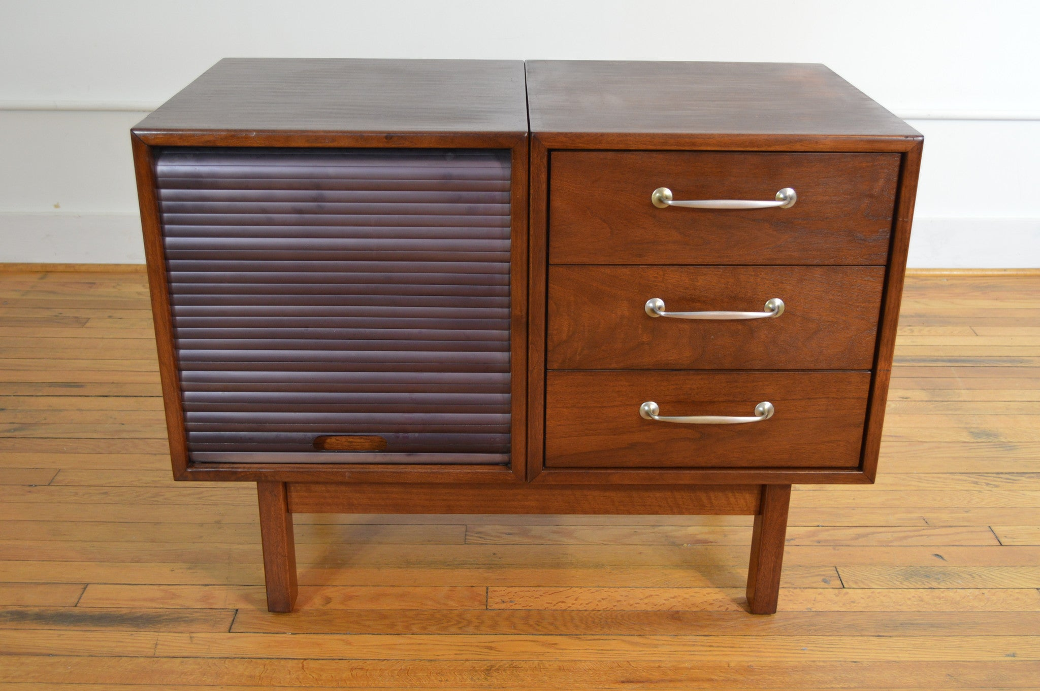 b.l. marble small walnut credenza with pull out shelf - galaxiemodern