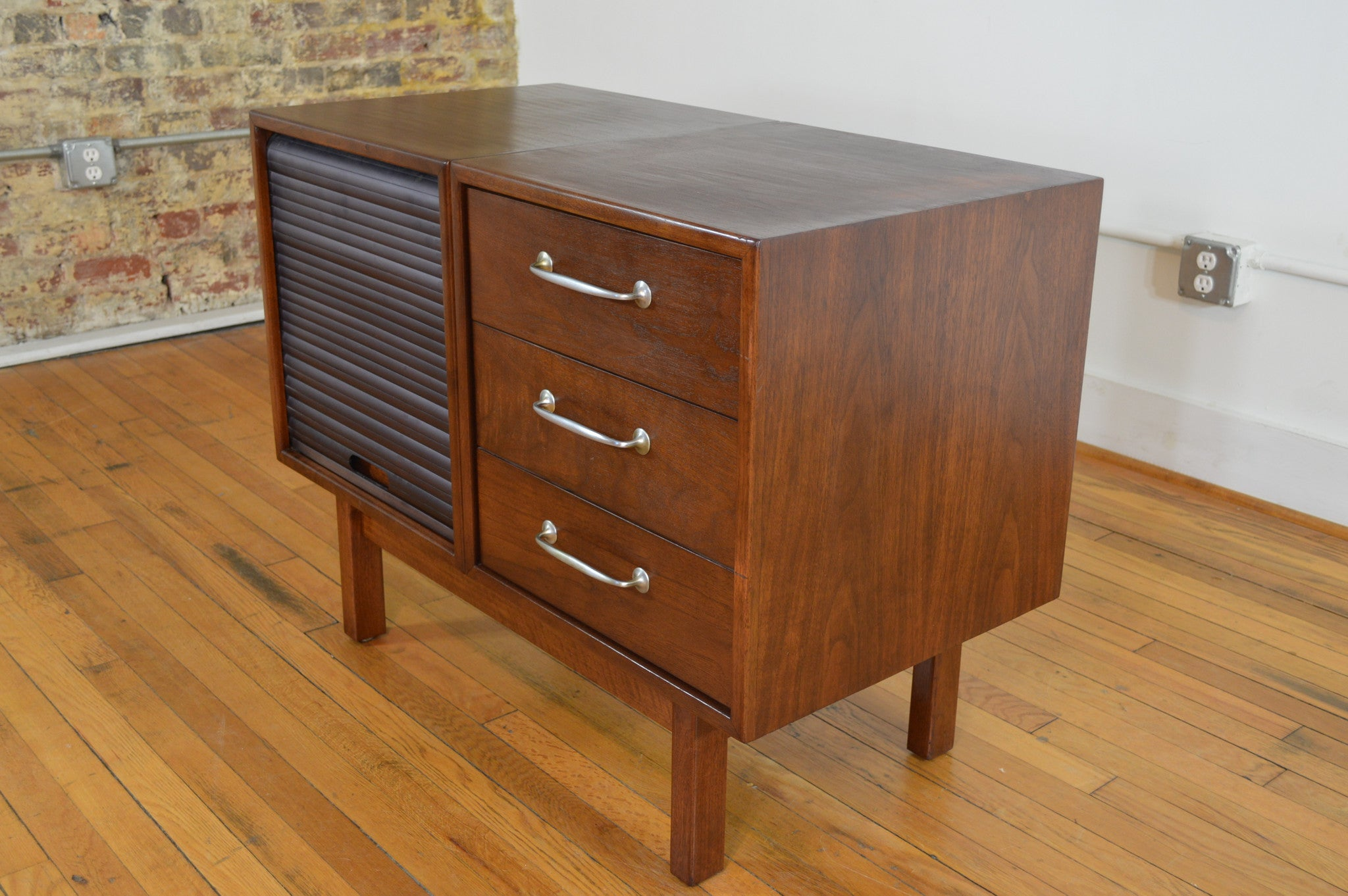 B.L. Marble Small Walnut Credenza With Pull Out Shelf