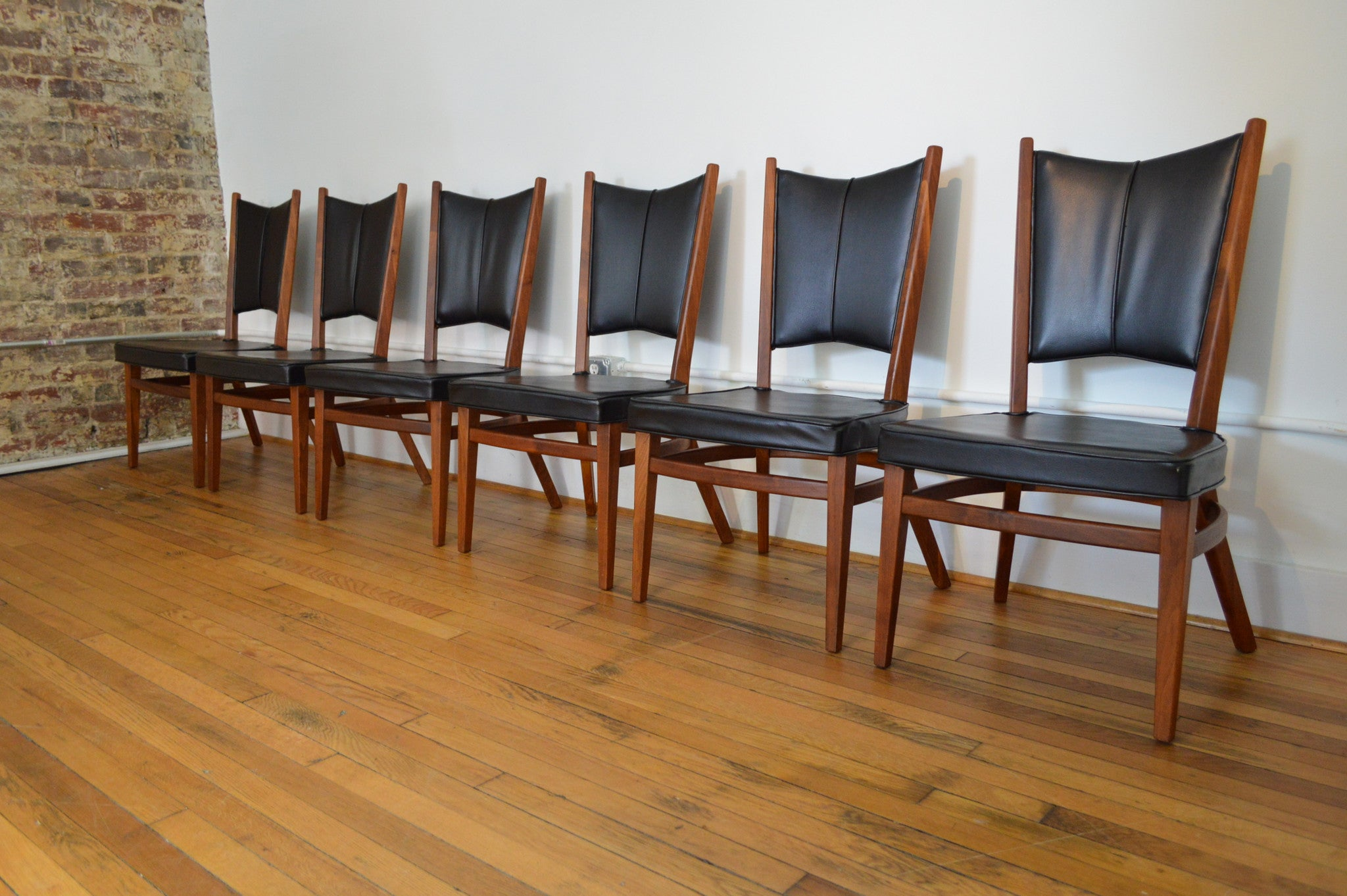 Rare Danish Modern Walnut Dining Set With Extension Table