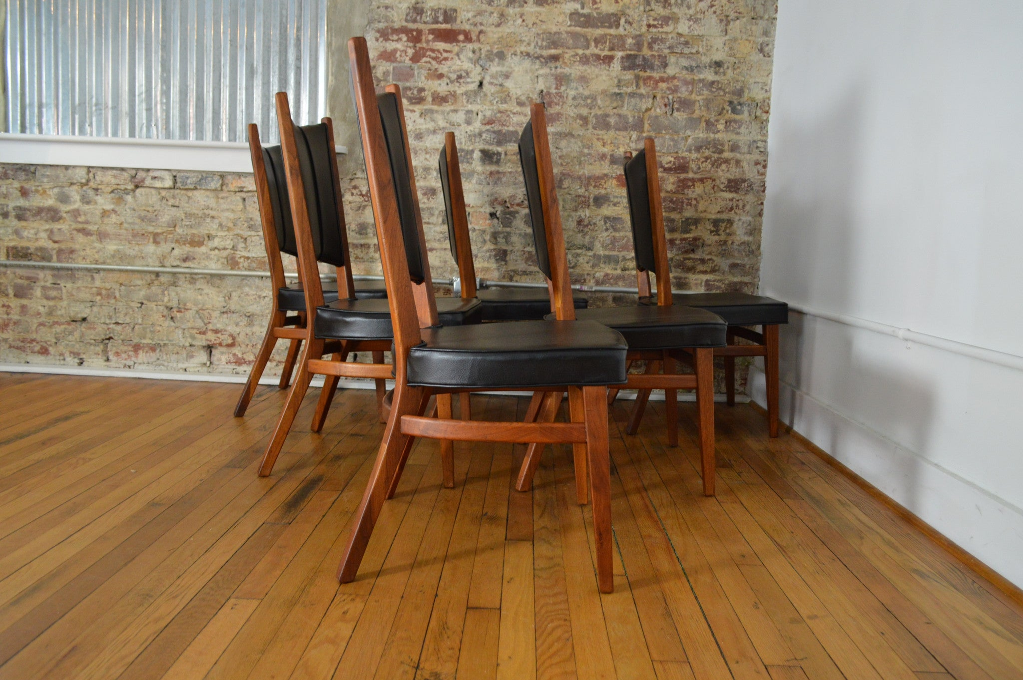 Rare Danish Modern Walnut Dining Set with Extension Table and Six Chai - GalaxieModern
