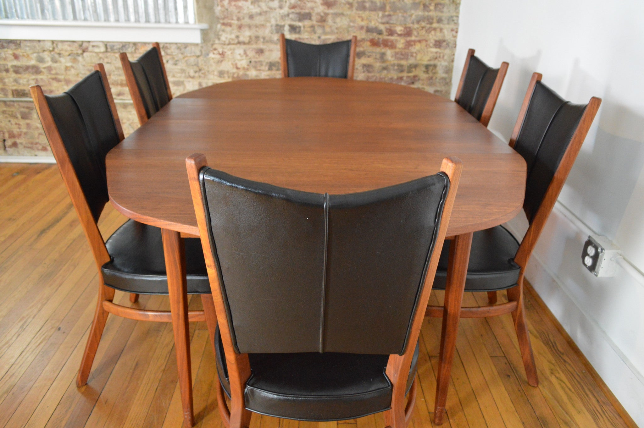 Rare Danish Modern Walnut Dining Set with Extension Table and Six