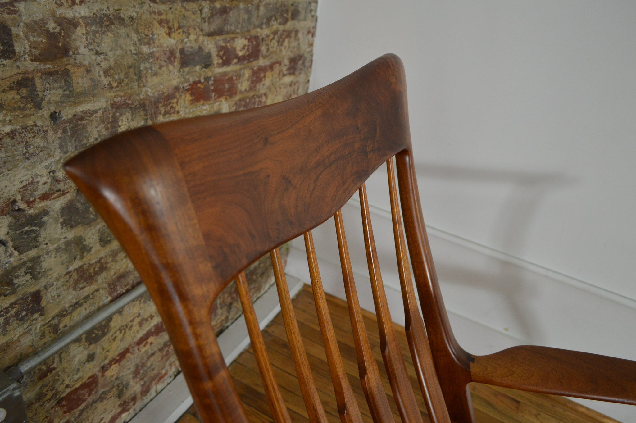 Michael Nieman Hand Made Walnut Rocking Chair In The Style