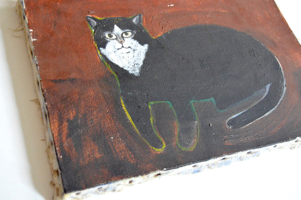 Folk Art Cat Painting By Paul Kitchin Mid Century Modern Vintage Art Galaxiemodern