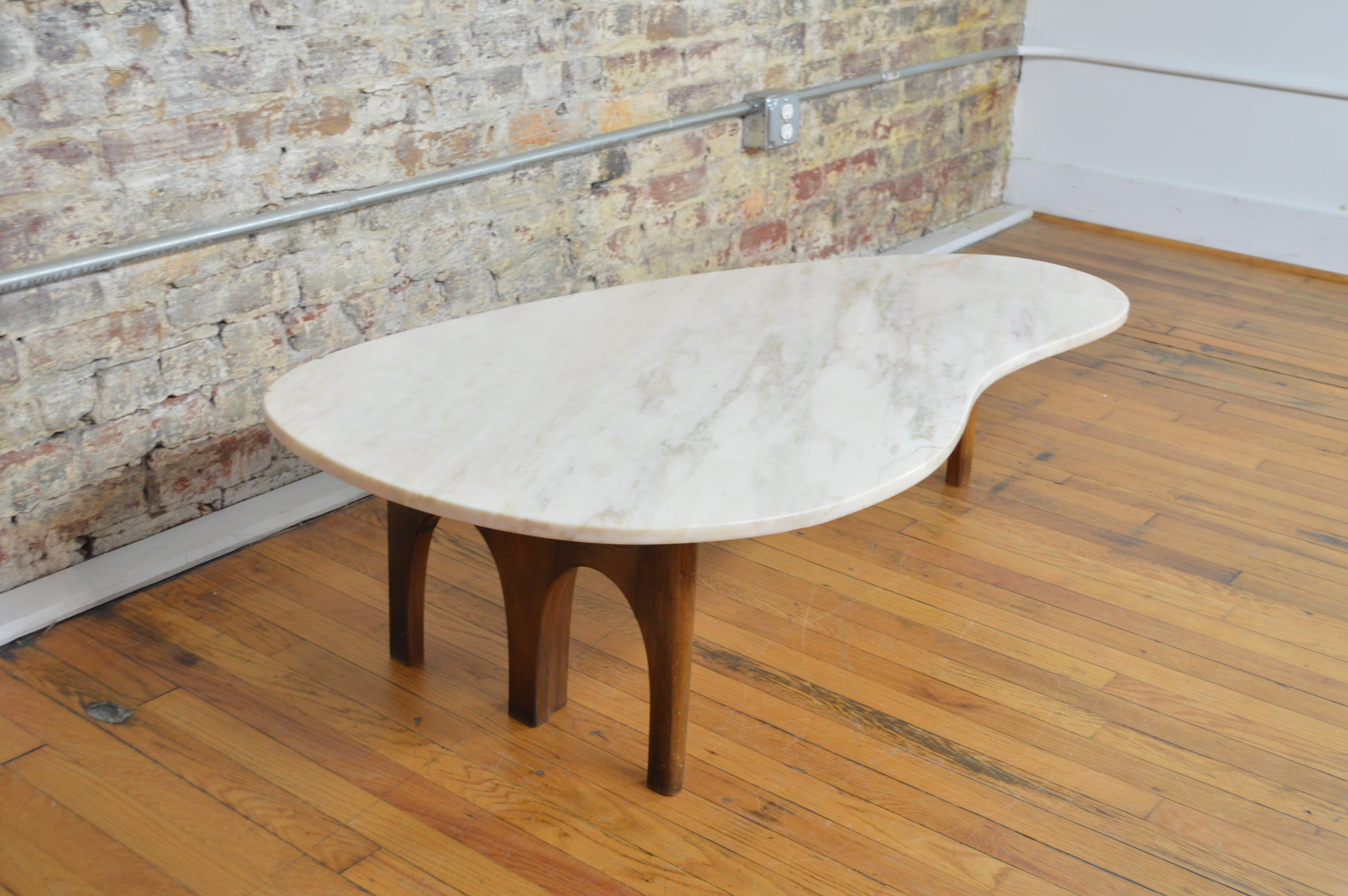 Unique Harvey Probber Style Mid Century Modern Marble Kidney Shaped - Mid century modern kidney shaped coffee table