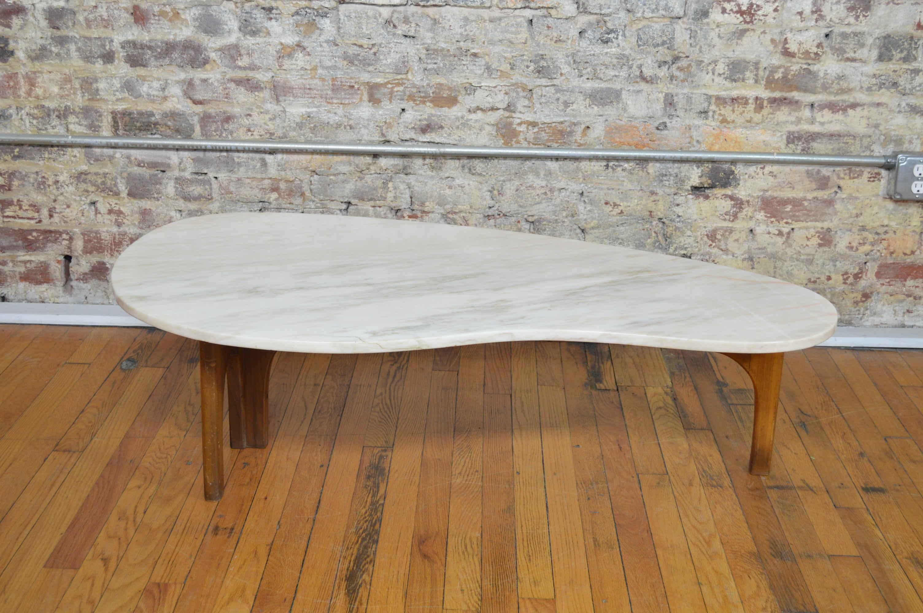 Unique Harvey Probber Style Mid Century Modern Marble Kidney Shaped Coffee  Table With Walnut Base
