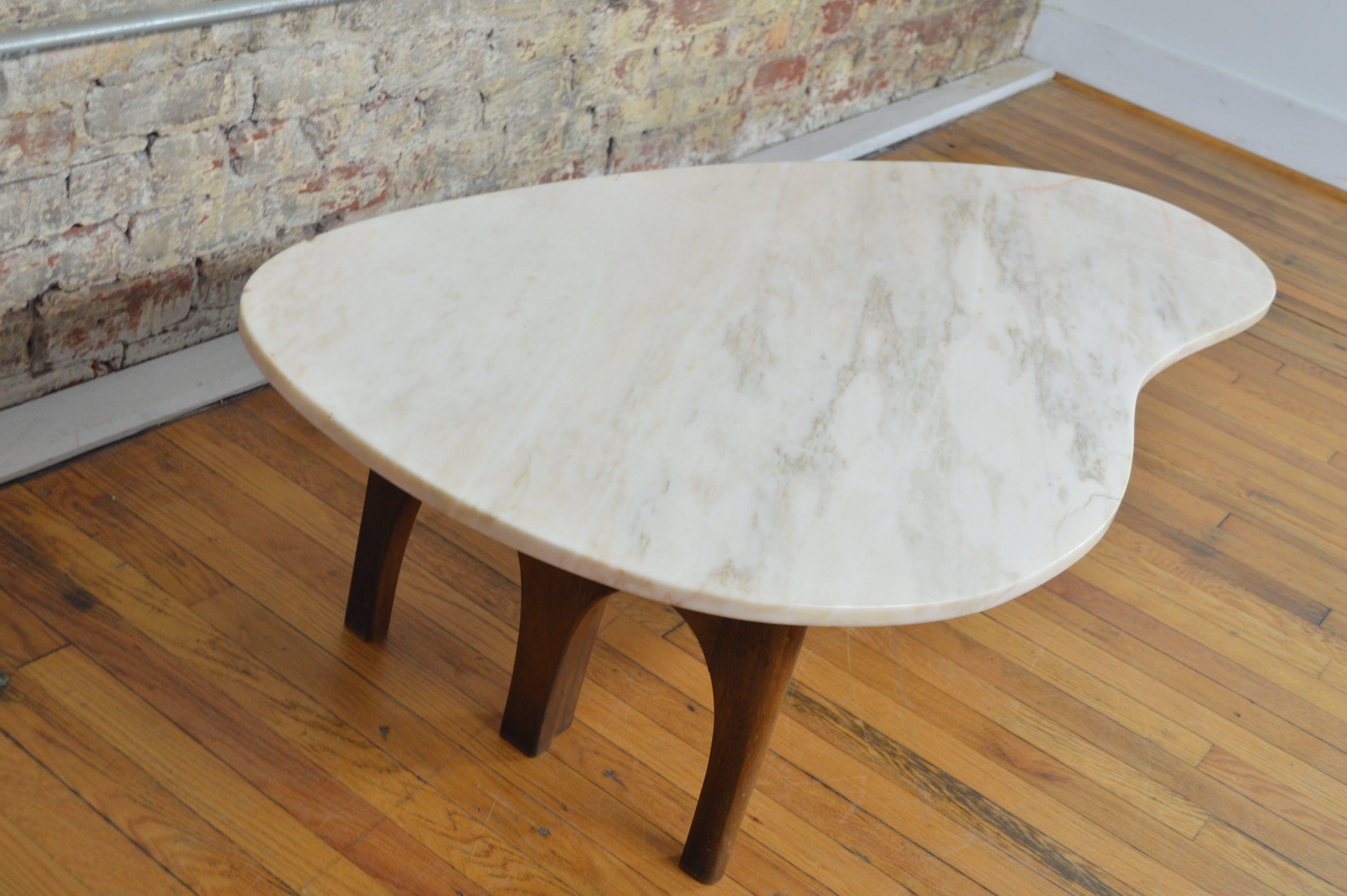 Unique Harvey Probber Style Mid Century Modern Marble Kidney