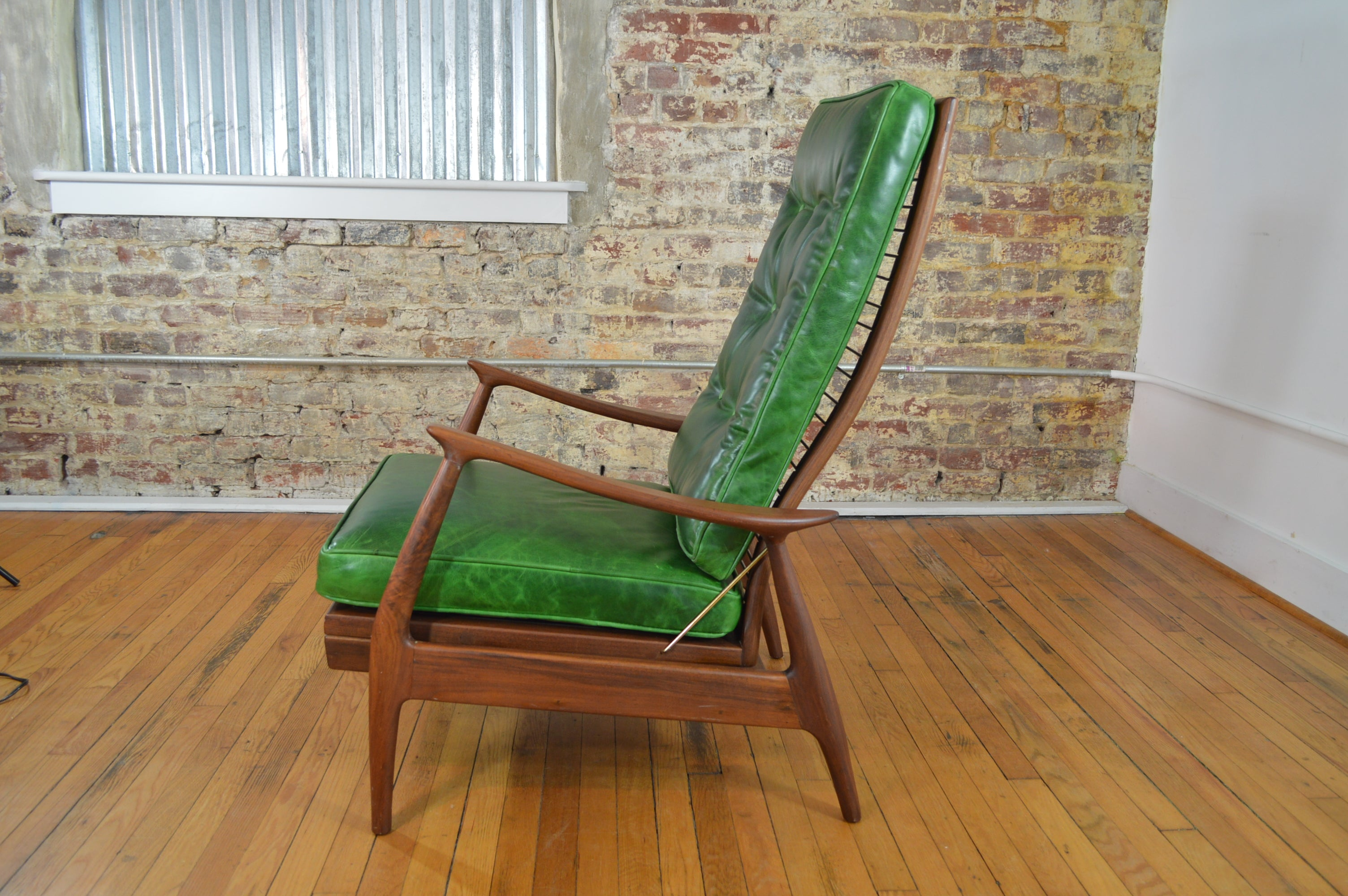 Milo Baughman for Thayer Coggin Walnut and Leather Recliner & Products tagged