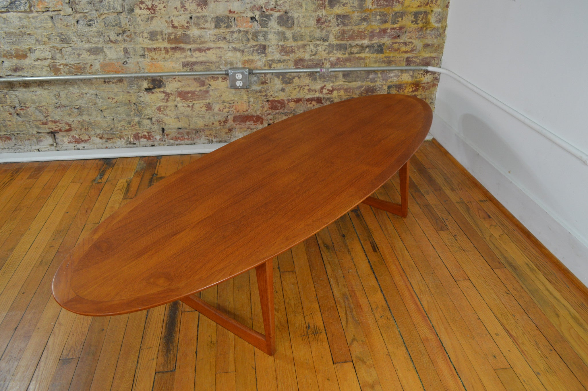 M M Moreddi Danish Teak Surfboard Coffee Table GalaxieModern