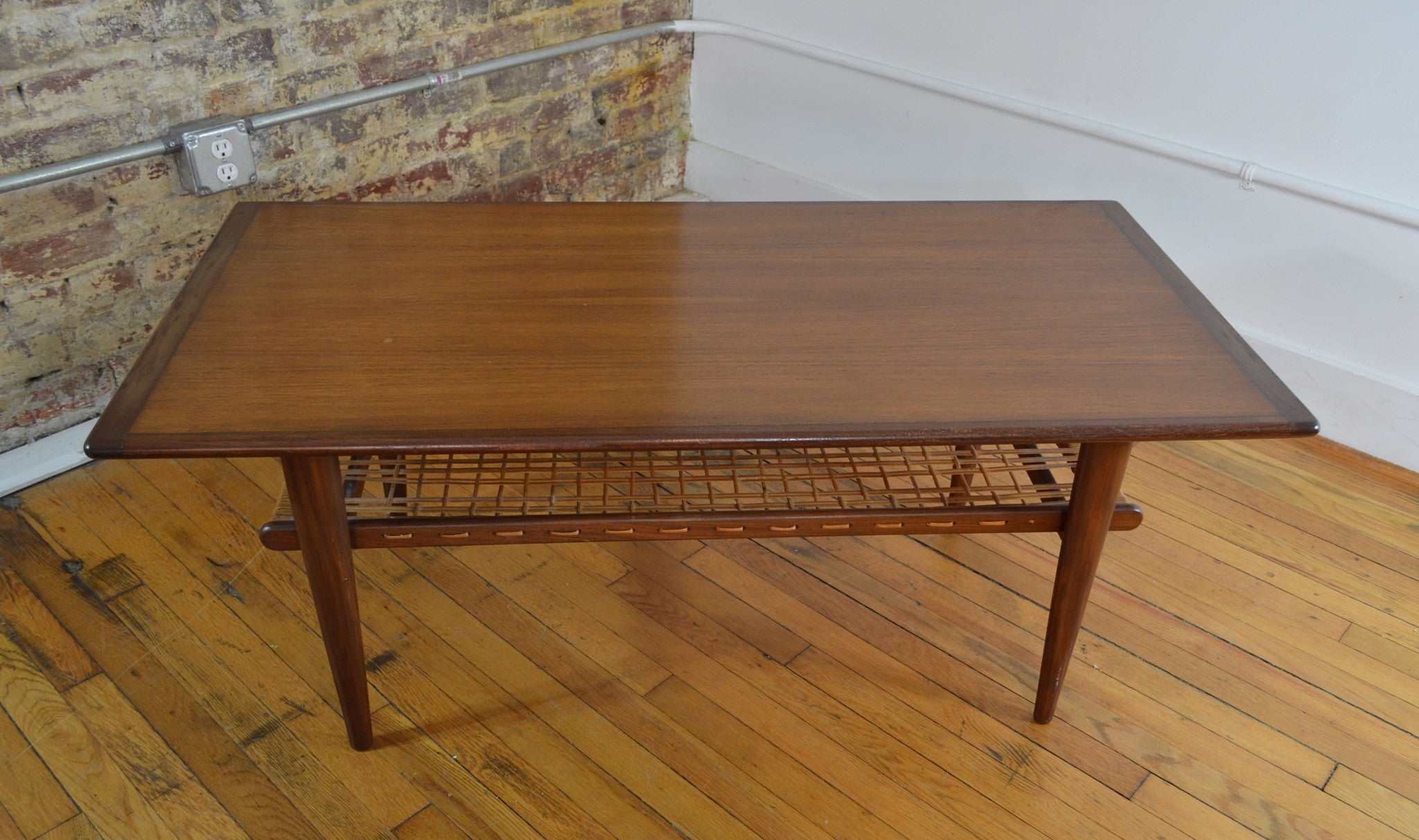 Norwegian Teak Coffee Table With Cane Shelf