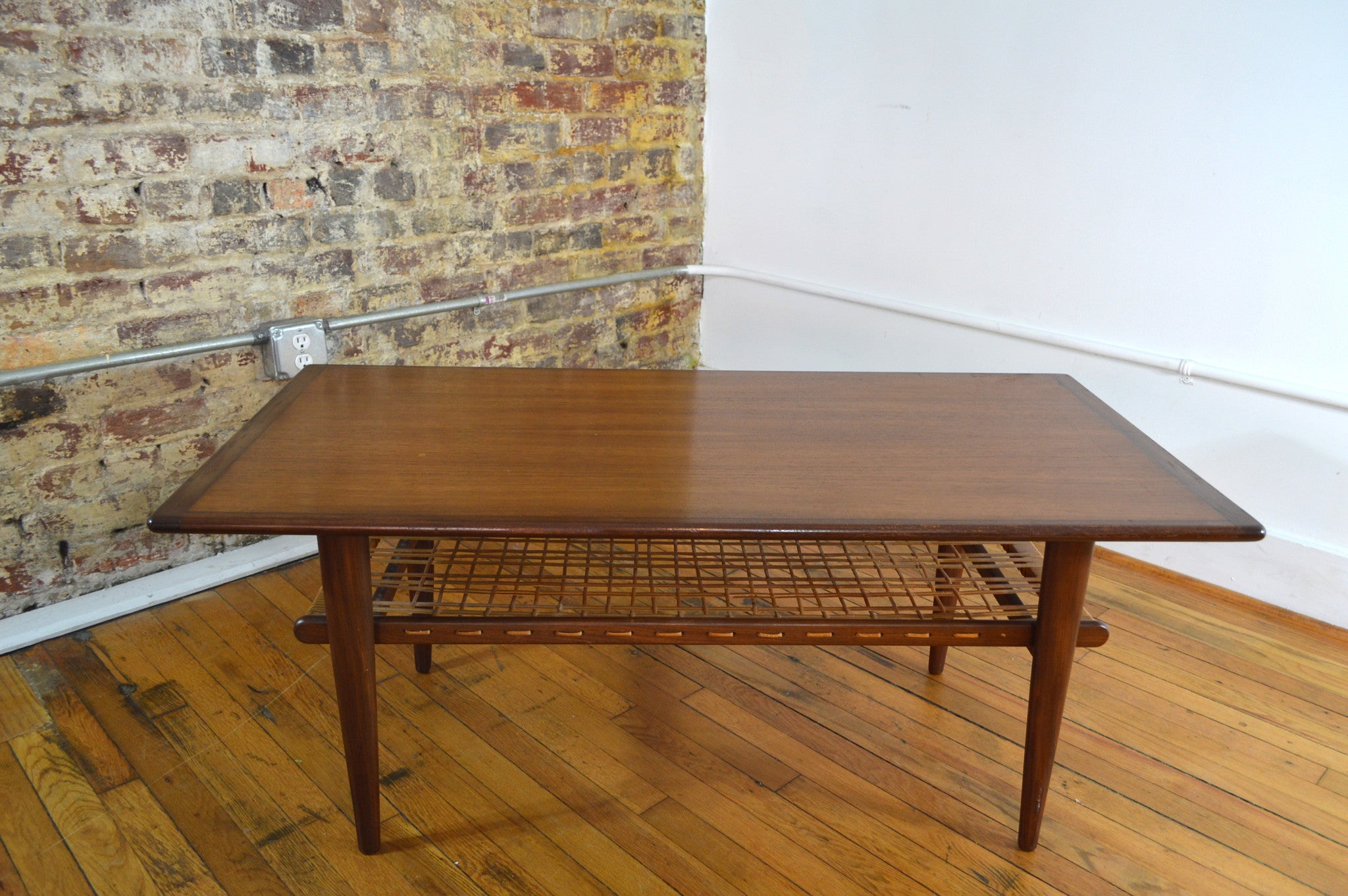 Norwegian Teak Coffee Table with Cane Shelf GalaxieModern