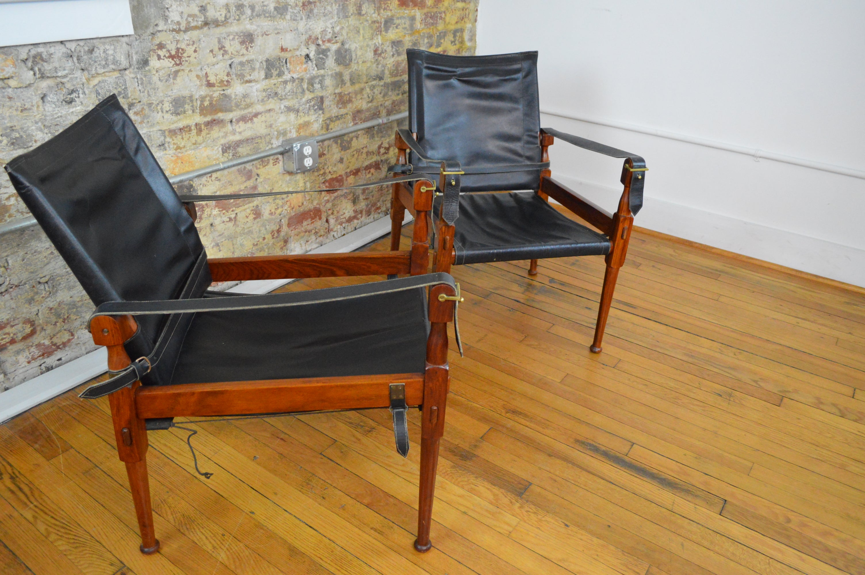 Rosewood And Leather Safari Chairs