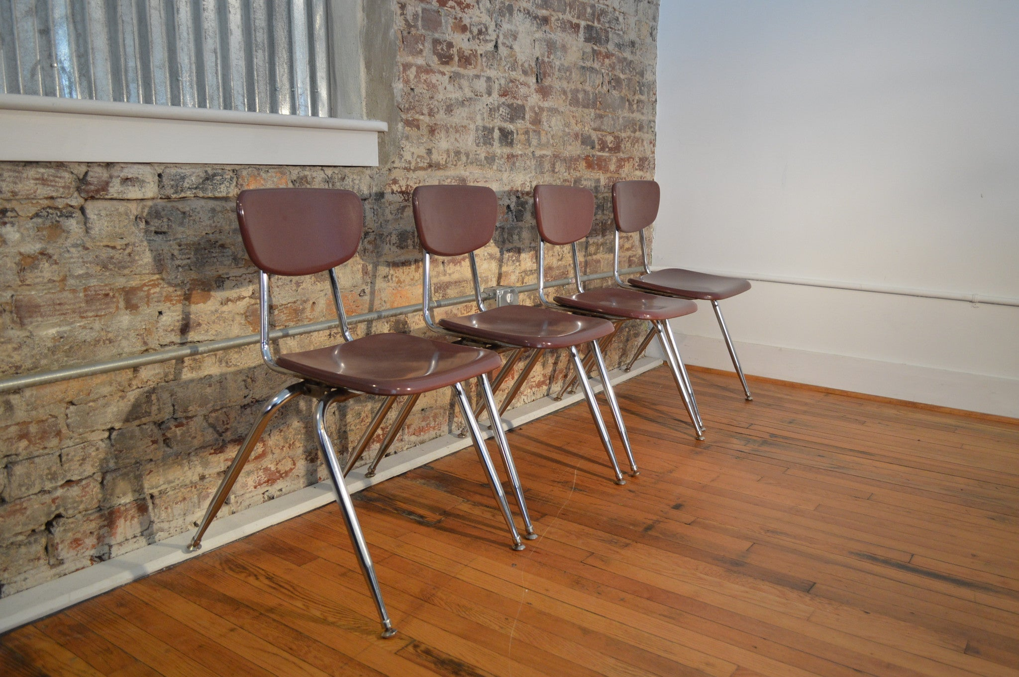 Set Of Four Virco Industrial Mid Century Modern Chairs