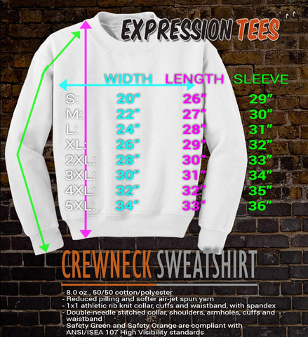 Crew Neck Sweatshirt Sizing Chart