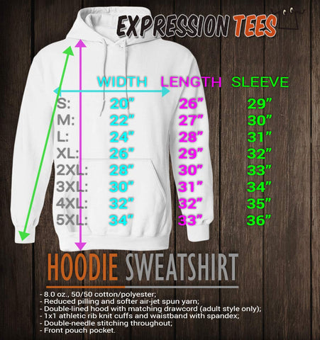 Hooded Sweatshirt Sizing Chart