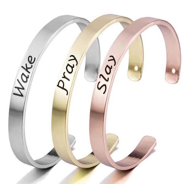 Stamped Wake Pray Slay Set of 3 Bangle Bracelets - Silver, Gold and Rose Gold Toned Bracelet Set