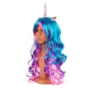 Unicorn Wig With Glitter Horn and Ears - Aqua Blue, Purple & Pink - Style #1