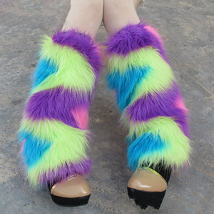 Neon Rainbow Furry Fluffy Unicorn Leg Warmers