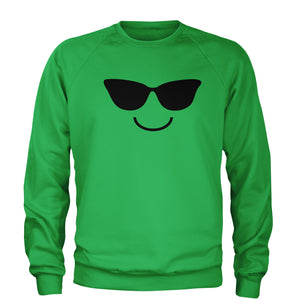 Emoticon Sunglasses Smile Face Adult Crewneck Sweatshirt