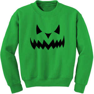 Evil Pumpkin Face (Black Print) Adult Crewneck Sweatshirt