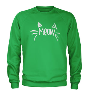 Meow Cute Face with Cat Whiskers Adult Crewneck Sweatshirt